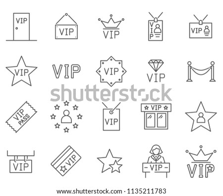 Set of vip Related Vector Line Icons. Contains such Icons as celebrities, stars, fame and more.