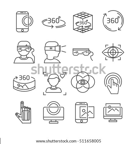 Set of virtual reality Related Vector Line Icons. Includes such Icons as virtual reality glasses, 360 degrees, 3D