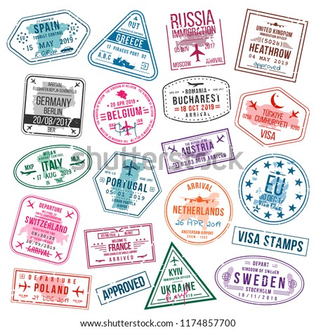 Set of visa stamps for passports. International and immigration office stamps. Arrival and departure visa stamps to Europe - Spain, Germany, Portugal, Turkey, Poland, United Kingdom etc. Vector