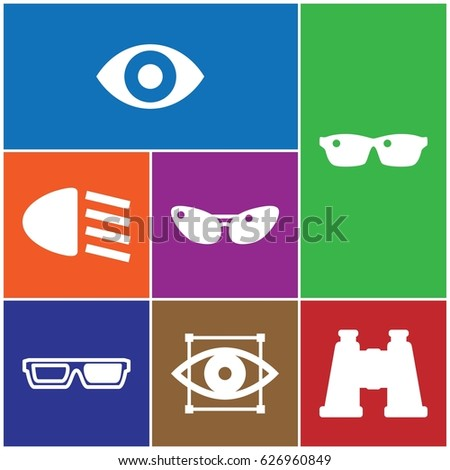 set of 7 vision filled icons