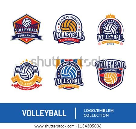 Set of Volleyball badge design logo emblem, Sport emblem insignia templates collection on a light background