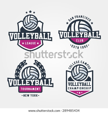 set of volleyball badge logo