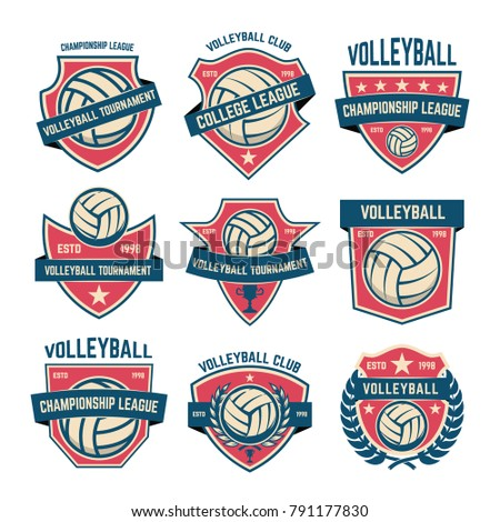 Set of volleyball club emblems. Volleyball tournament. Design element for logo, label, emblem, sign. Vector illustration