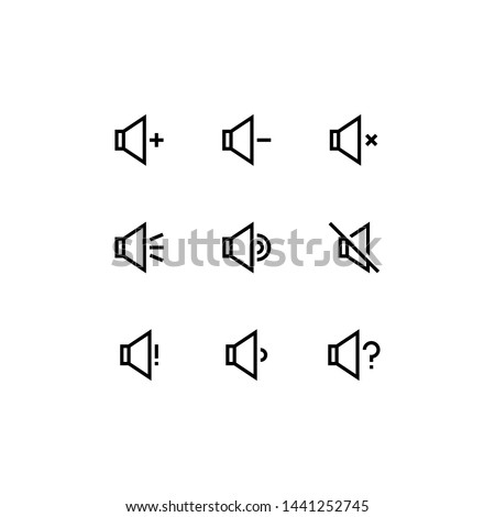 Set of volume button, volume up, volume down, mute, outline style icon - vector