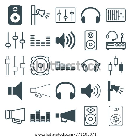 Set of 25 volume filled and outline icons such as control panel, volume, megaphone, earphones, headset, speaker, equalizer, adjust, sliders, loudspeaker, slider