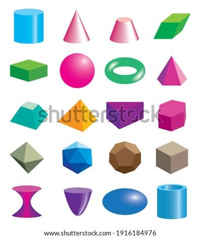 Set of volumetric geometrical colored shapes. Vector illustration Foto stock ©