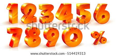 Set of volumetric shiny numbers and percent sign. Orange numbers set, 3d objects. 1, 2, 3, 4, 5, 6, 7, 8, 9, 0 numbers and percent % sign. Vector illustration