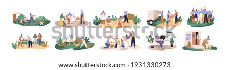 Set of volunteers helping and supporting senior, disabled and homeless people, children and animals. Charity and donation concept. Colored flat cartoon vector illustration isolated on white background