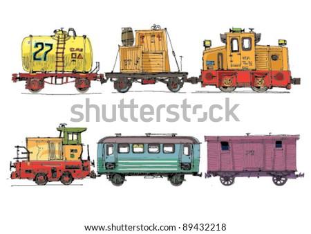 set of wagons and locomotive