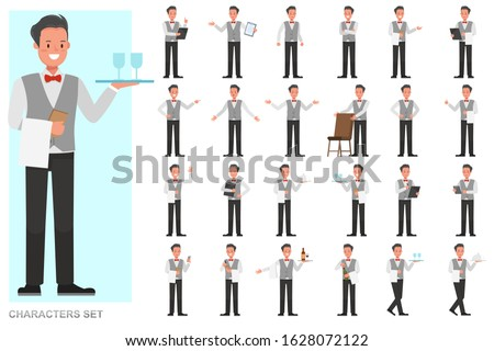 Set of waiters, man character vector design. Presentation in various action with emotions, running, standing and walking.