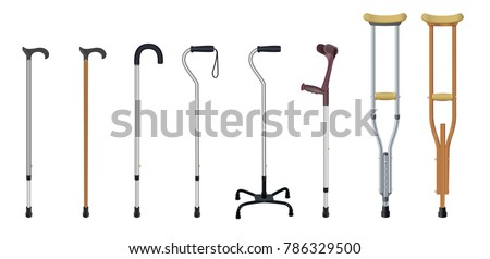 Set of walking sticks and crutches. Telescopic metal canes, wooden cane, cane with additional support,  elbow crutch, telescopic crutch, wooden crutch. Medical devices. Vector illustration
