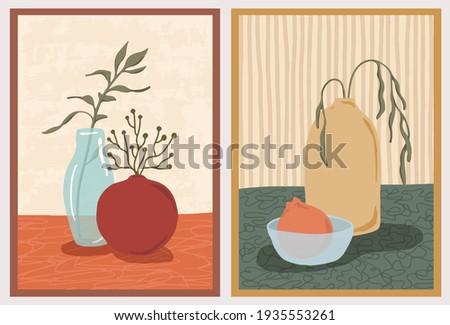 Set of wall art paintings. Still life composition with vases, plants. Green botanical, tangerine branch, lemon. Hand drawn modern trendy style.  商業照片 ©