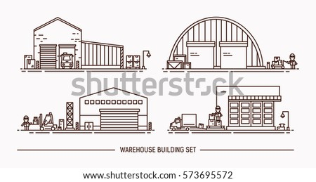 Set of warehouse buildings of different shape with freight transport. Lineart. Contour illustration.