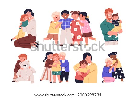 Set of warm hugs between kids, parents and little friends. Happy child embracing mother, father and other diverse children with love. Colored flat vector illustration isolated on white background