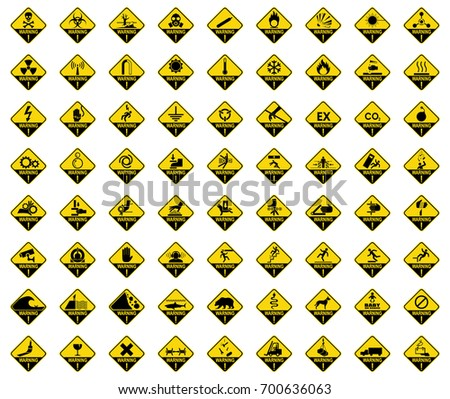 Set of warning sign. Danger sign, symbol, illustration