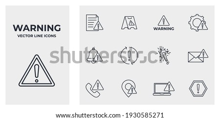 Set of Warning sign icon. Warnings pack symbol template for graphic and web design collection logo vector illustration