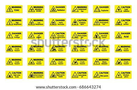 Set of warning sign on yellow background. Symbol, illustration