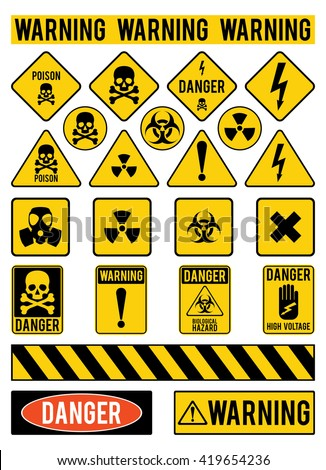 set of warning signs about the...