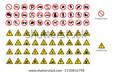 Set of warning signs and prohibition signs on white background. Symbol, vector, illustration