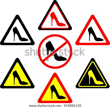 set of warning signs with women's shoes. vector illustration