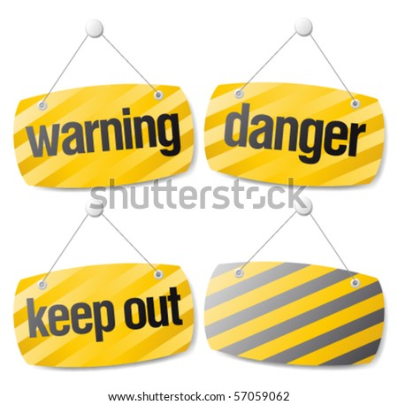 Set of warning vector signs