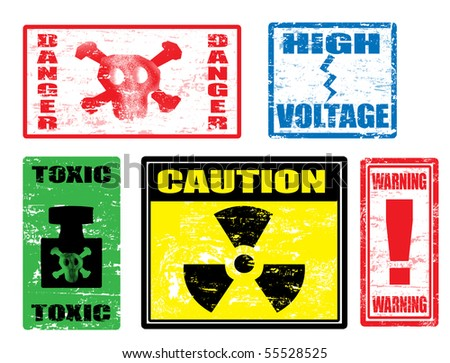 Set of warnings stamps, dangerously for life