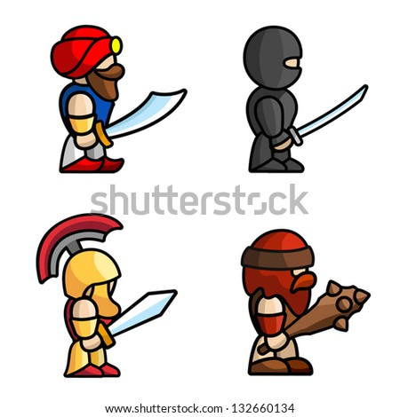 Set of warriors. Each character consists of head, body, two arms and two legs.