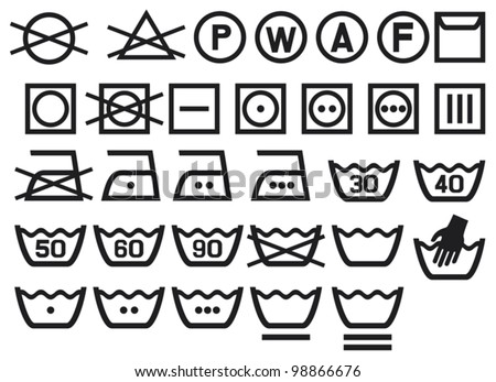 Set of washing symbols (laundry icons - bleaching, ironing and dry cleaning)