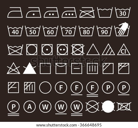 set of washing symbols  laundry