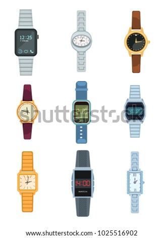 set of watches icons isolated
