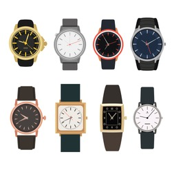 Set of watches in classic design. Vector illustration. Man's gold watches isolated on white background.
