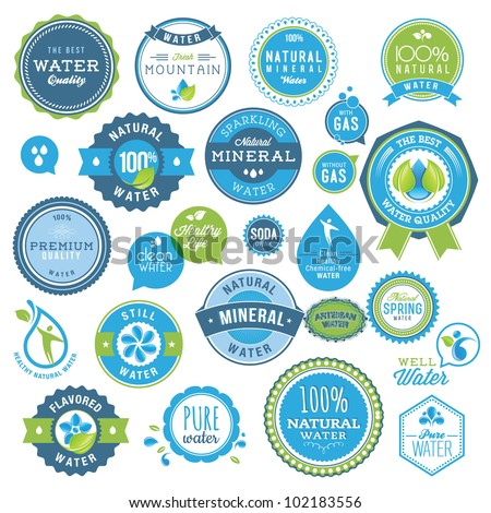 Set of water badges and stickers - stock vector