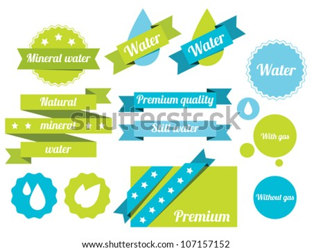 Set of water badges, labels and icons