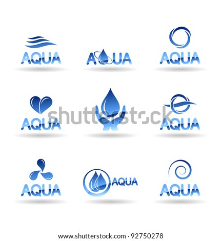 Set of water design elements. Water icon (aqua). - stock vector