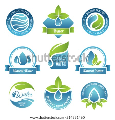 set of water emblems and labels