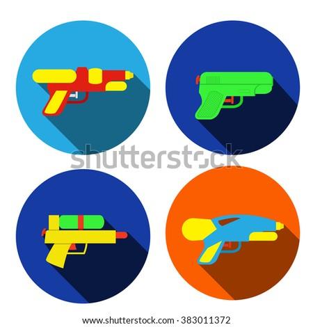 set of water gun icons in flat
