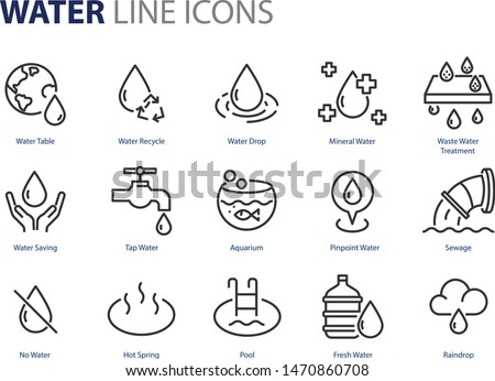 set of water icons, natural, pool, mineral water, ocean