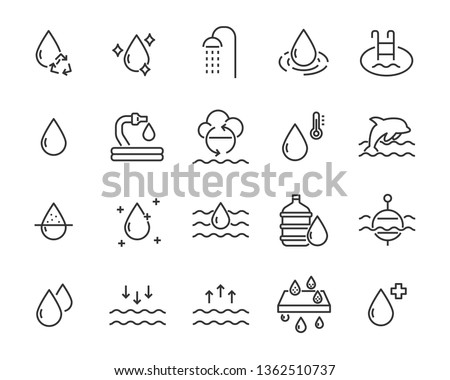set of water icons, such as filter, liquid, aqua