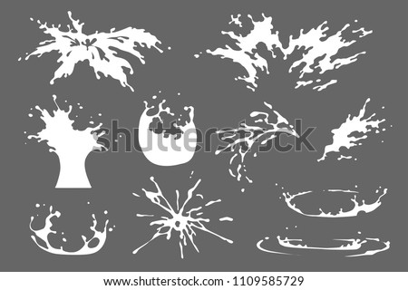 Set of water, milk or yoghurt splash clipart, water drops and crown from falling into the liquid, isolated vector effects design. Spray motion, spatter blast, drip, firework 2D VFX game illustration