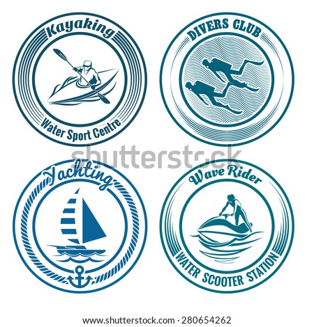 Set of Water Sport stamps or seal with design elements. Kayaking, diving, yachting and water scooter sport. Isolated on white background. No gradient used.