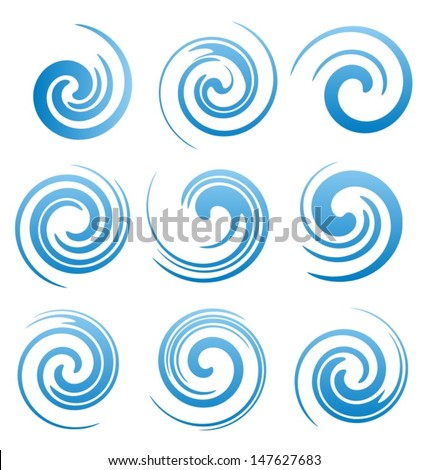 Set of water swirls design elements. Abstract water splash shapes collection. Vector waves symbols, signs and icons.