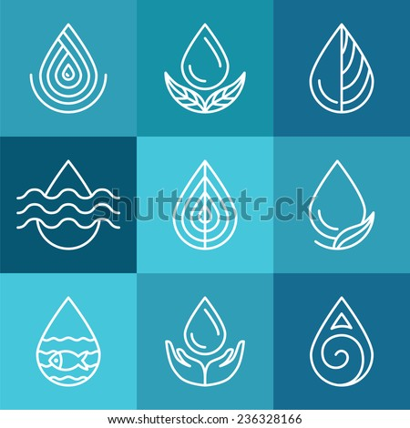 set of water symbols and signs