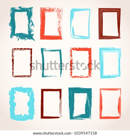 Set of watercolor and ink hand drawn grunge rectangle frames for background