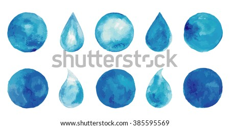 set of watercolor blue splashes