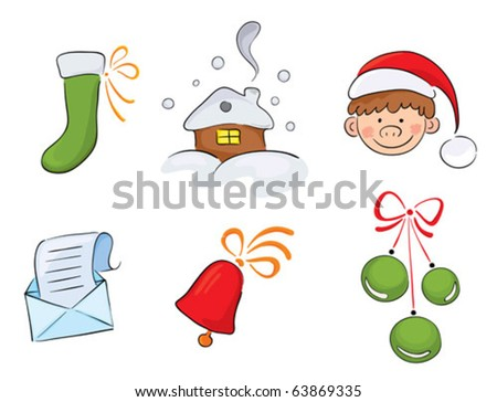 Set of watercolor Christmas images