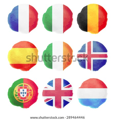 set of watercolor flags  nine