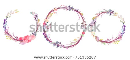 Set of watercolor flowers, leaves, branches, isolated on white. Sketched colorful wreath,groups, garland for romantic wedding, valentines day design. Handdrawn Vector, imitation of Watercolour style.