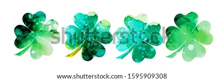 set of watercolor four leaf