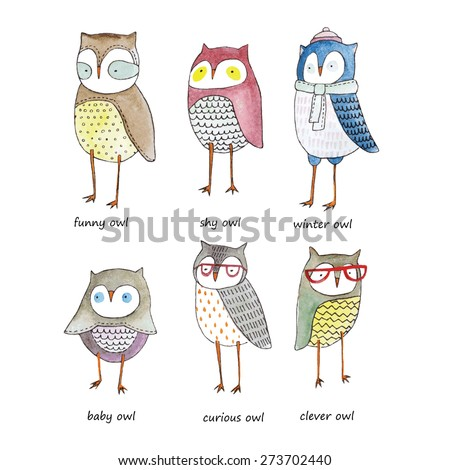 set of watercolor funny owls