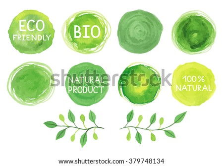 set of watercolor green logo
